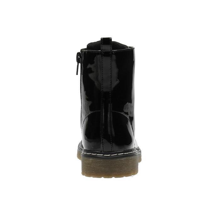Dievčenská členková obuv s ružovým šnurovaním mini-b, čierna, 321-6600 - 17