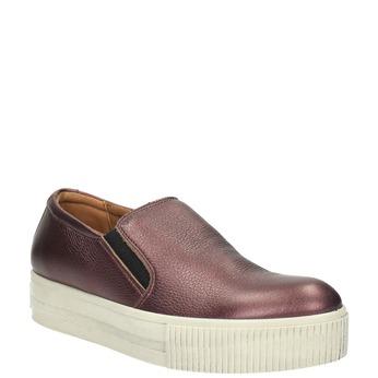 Kožené Slip-on na širokej podrážke bata, fialová, 526-5605 - 13