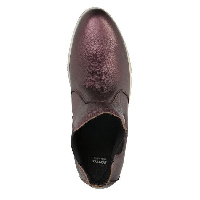 Kožená členková obuv na širokej podrážke bata, fialová, 596-5625 - 19
