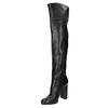 Čižmy nad kolená na podpätku bata, čierna, 791-6609 - 26