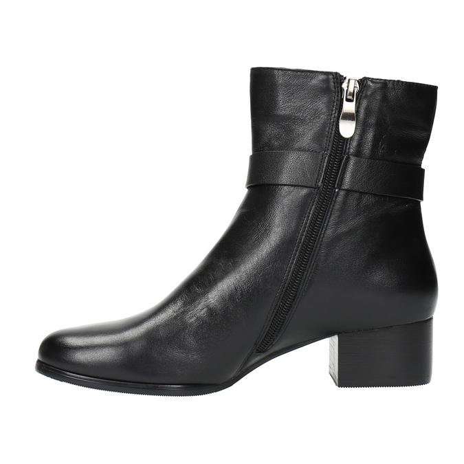 Kožené členkové čižmy na nízkom podpätku bata, čierna, 694-6630 - 26