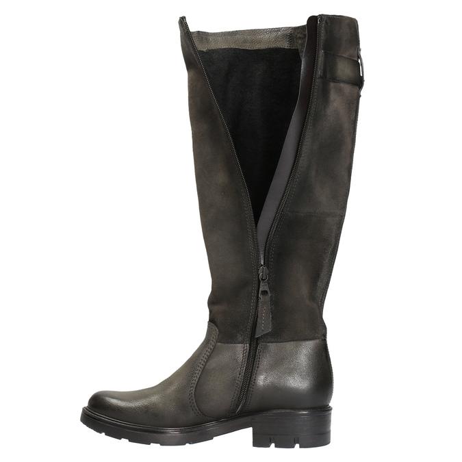 Kožené čižmy na výraznej podrážke bata, hnedá, 596-4618 - 19