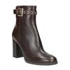 Kožená členková obuv na podpätku bata, hnedá, 794-4635 - 13