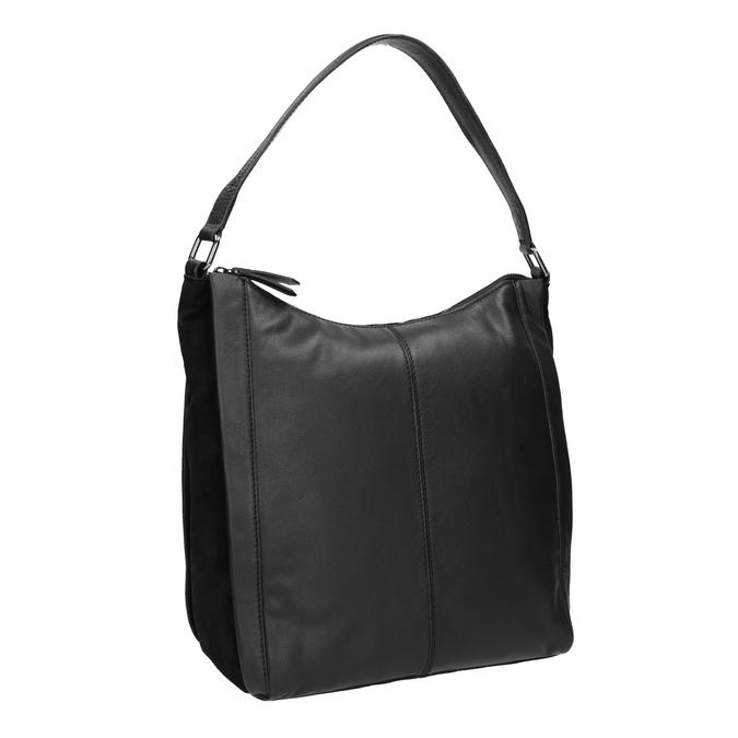 Kožená kabelka v Hobo štýle čierna bata, čierna, 964-6254 - 13