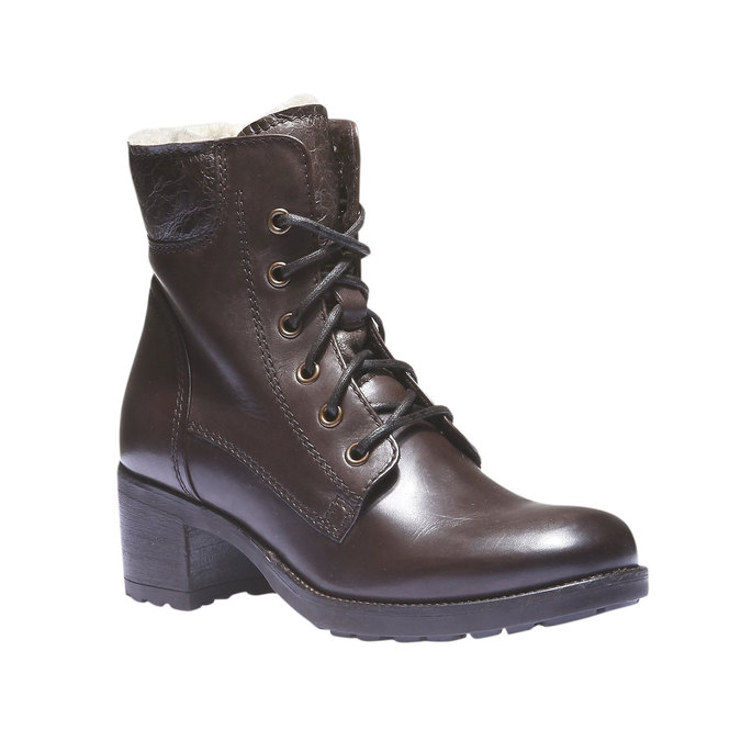 Kožené šnurovacie topánky so zateplením bata, hnedá, 694-4100 - 13