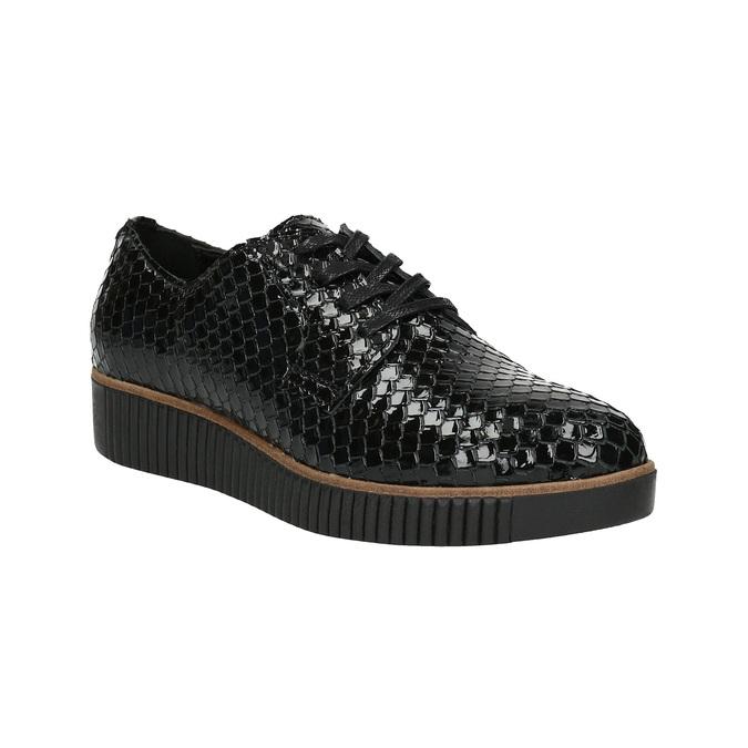 Ležérne kožené dámske poltopánky bata, čierna, 526-6613 - 13