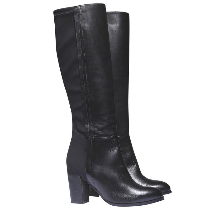 Kožené čižmy na podpätku bata, čierna, 794-6604 - 26