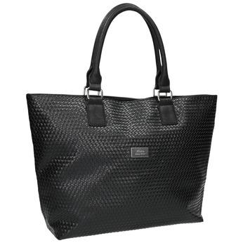 Dámska kabelka s prepleteným vzorom bata, čierna, 961-6651 - 13