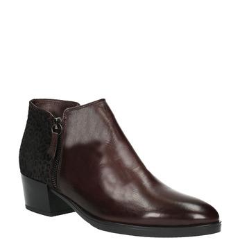 Kožená členková obuv na nízkom podpätku bata, červená, 696-5613 - 13