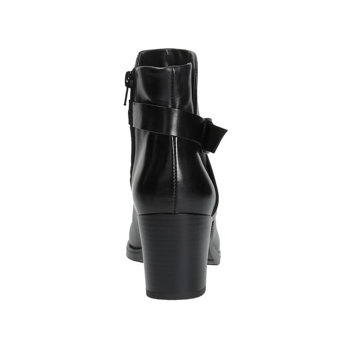 Kožená členková obuv na podpätku bata, čierna, 796-6609 - 17