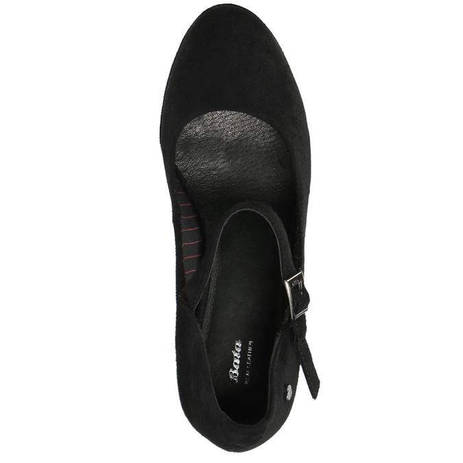 Čierne lodičky s remienkom cez priehlavok bata, čierna, 729-6601 - 19