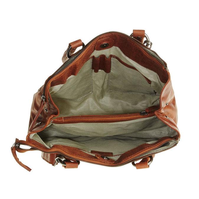 Kožená kabelka s odnímatelným popruhom bata, hnedá, 964-3123 - 15