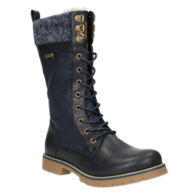 Detská zimná vysoká obuv mini-b, modrá, 491-9650 - 13