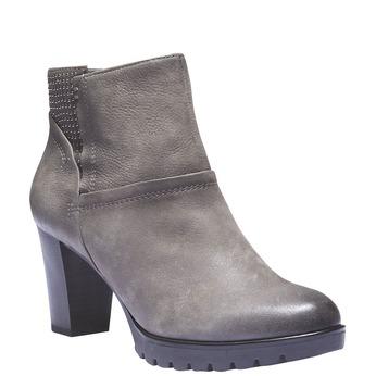 Kožená členková obuv bata, šedá, 796-2122 - 13