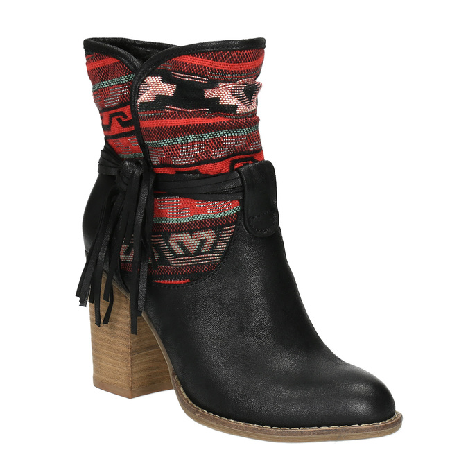 Členkové čižmy vo Western štýle so zateplením bata, čierna, 699-6603 - 13