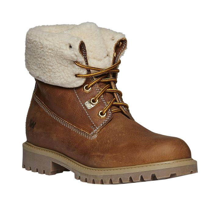 Kožená obuv s kožušinou weinbrenner, hnedá, 594-3823 - 13