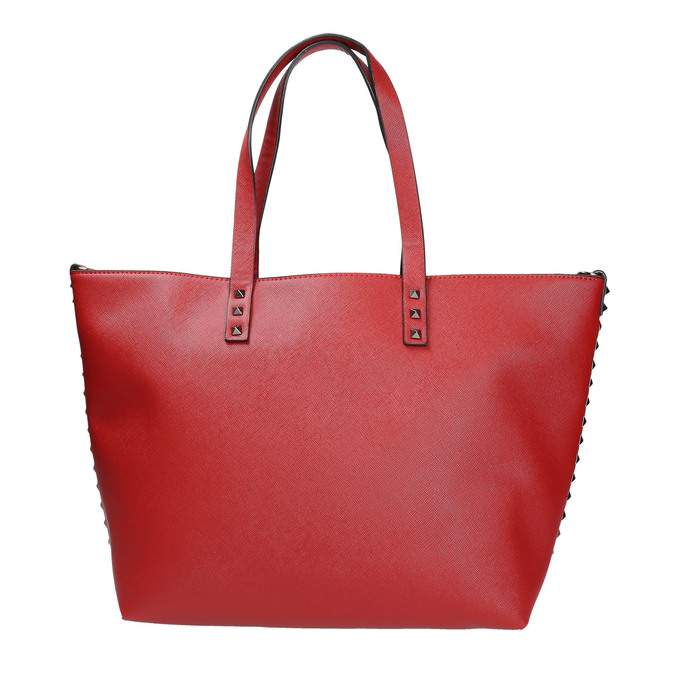 Červená kabelka v Shopper štýle bata, červená, 961-5647 - 26