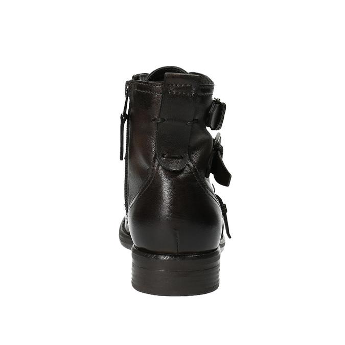 Kožená členková obuv s prackami bata, hnedá, 894-4683 - 17