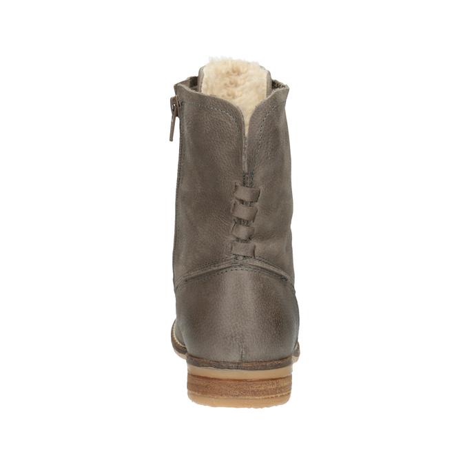 Kožená členková obuv so zateplením bata, šedá, 596-2610 - 17