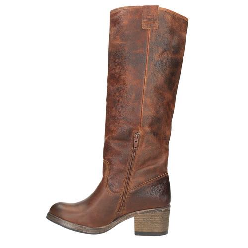 Vysoké kožené čižmy vo Western štýle bata, hnedá, 696-3608 - 19