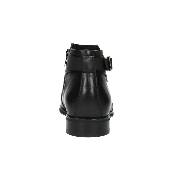 Kožená členková obuv s prackou conhpol, čierna, 894-6680 - 17