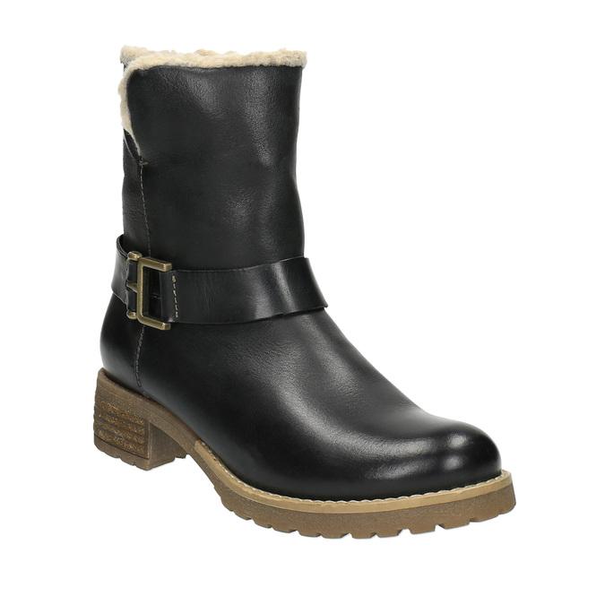 Dámska obuv s kožúškom bata, čierna, 594-6609 - 13