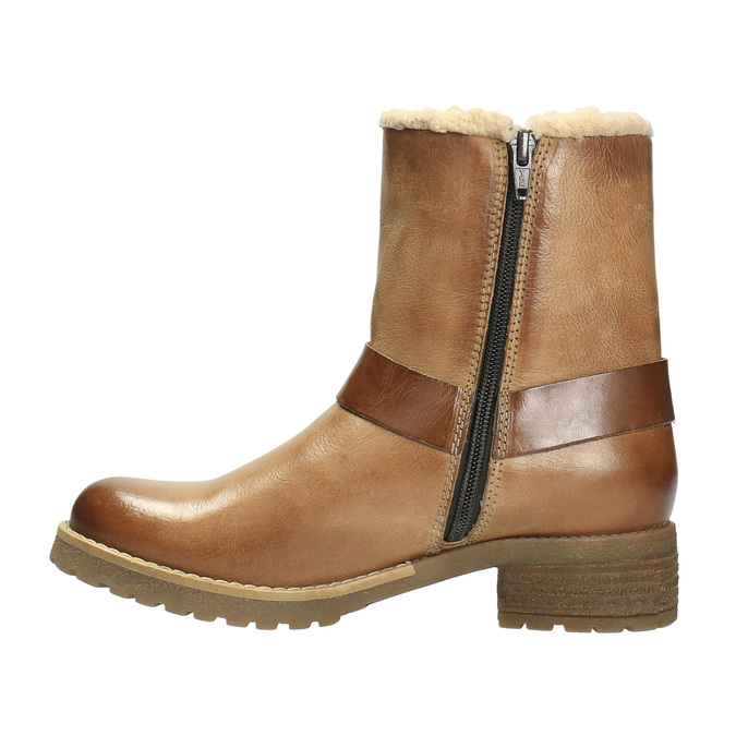Kožená zimná obuv s kožúškom bata, hnedá, 594-4609 - 26