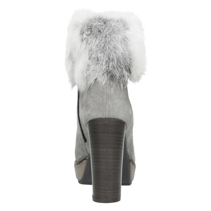 Kožená členková obuv s pravým kožuškom manas, šedá, 793-2603 - 17
