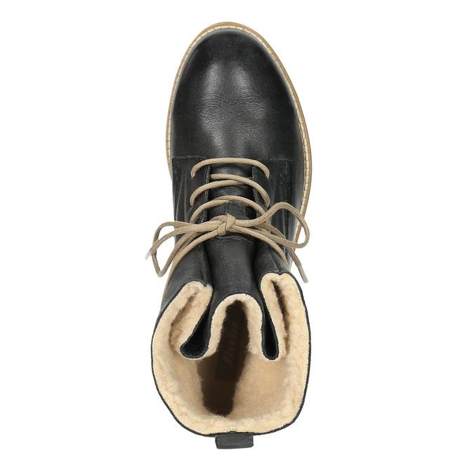 Kožená členková obuv so zateplením bata, čierna, 594-6610 - 19