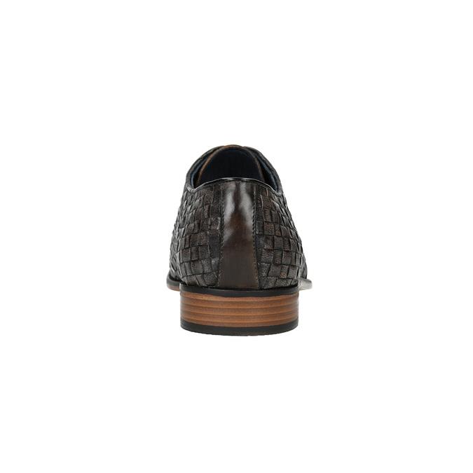 Celokožené poltopánky s pleteným vzorom bata, hnedá, 826-4775 - 17