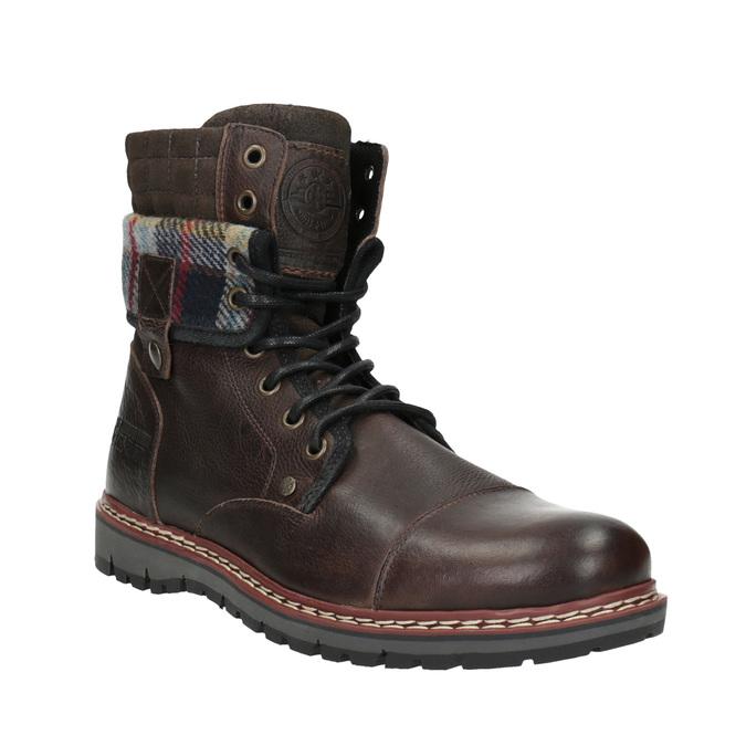 Kožená zimná obuv s károvaným detailom bata, hnedá, 896-4650 - 13