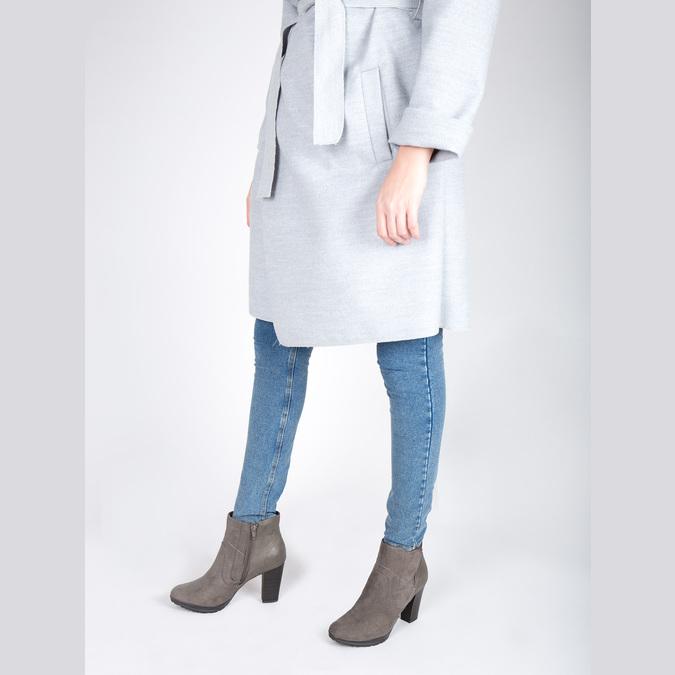 Členková obuv na podpätku bata, šedá, 791-2602 - 18