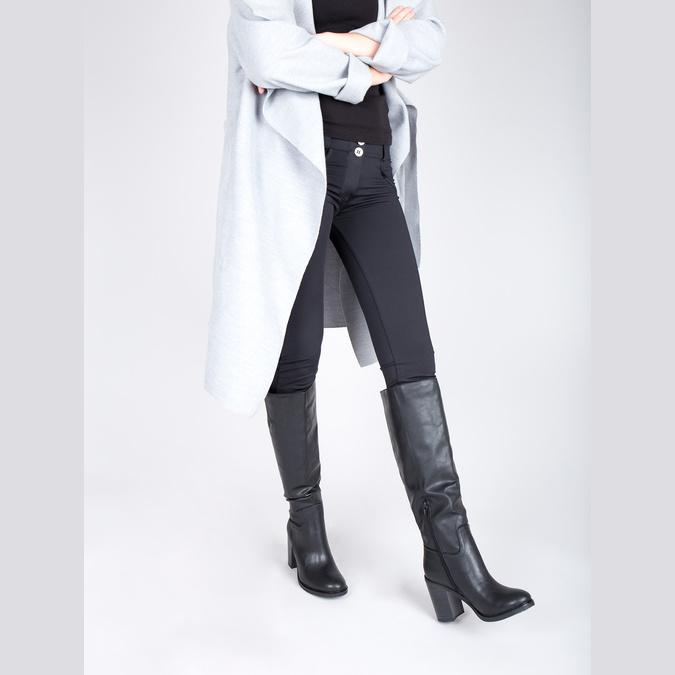 Dámske čižmy na silnejšom podpätku bata, čierna, 791-6612 - 18