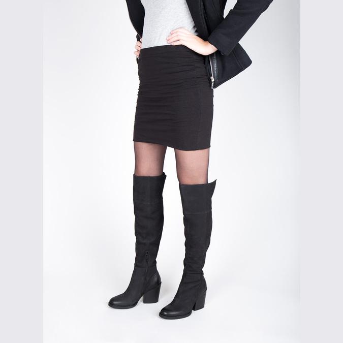 Kožené čižmy nad kolená na masívnom podpätku bata, čierna, 696-6611 - 18