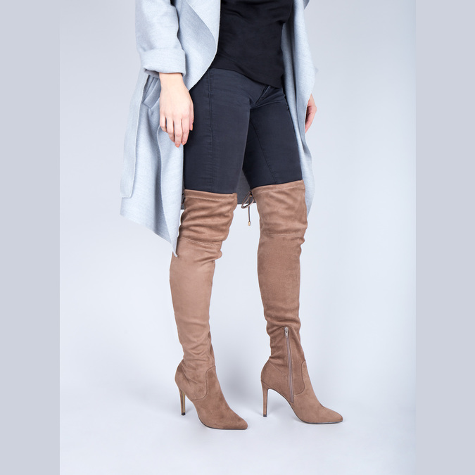 Dámske čižmy nad kolena bata, hnedá, 799-3600 - 18