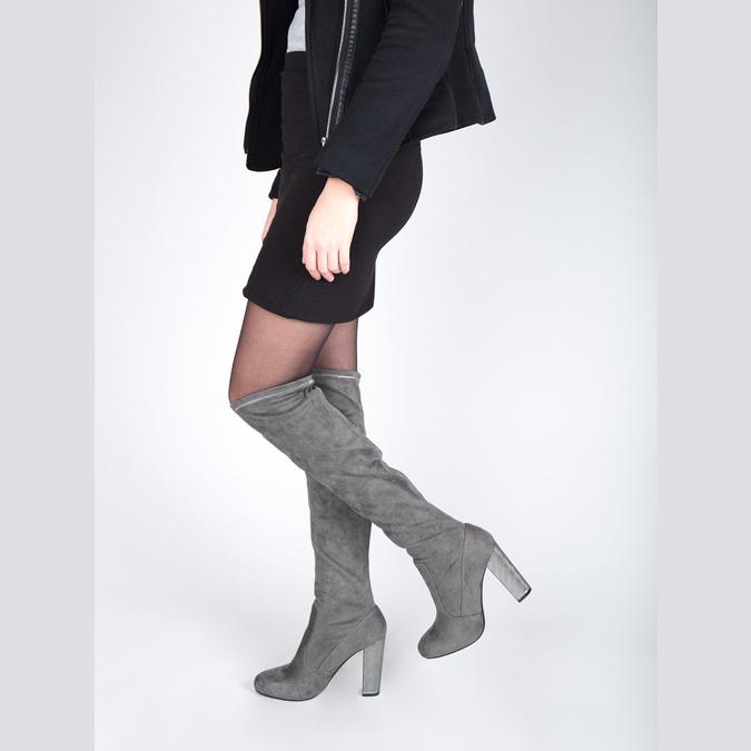 Dámské čižmy nad kolená bata, šedá, 799-2606 - 18