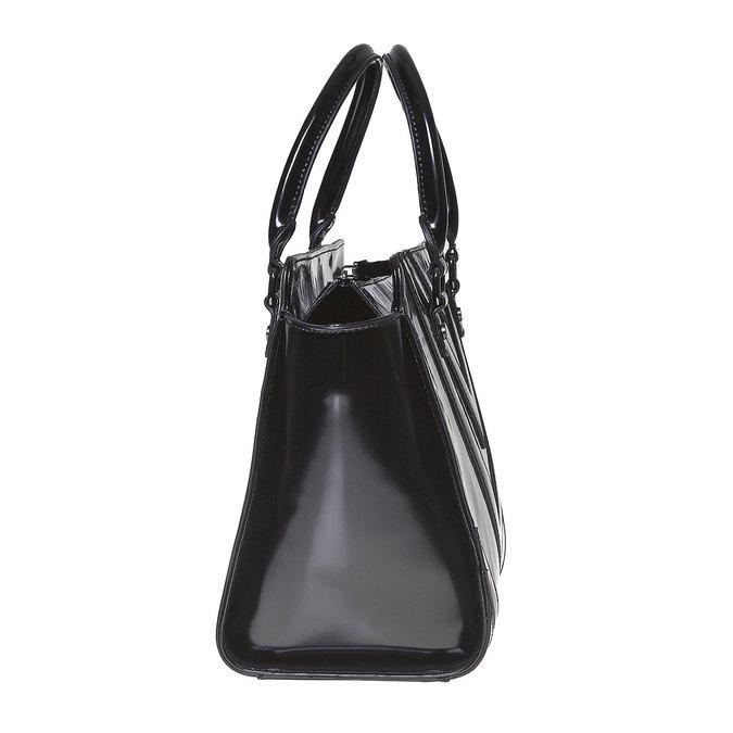 Lakovaná kabelka s prešitím bata, čierna, 961-6708 - 17