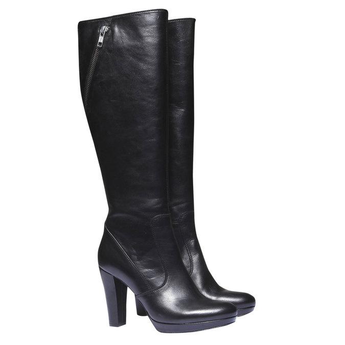 Kožené čižmy na podpätku bata, čierna, 794-6602 - 26