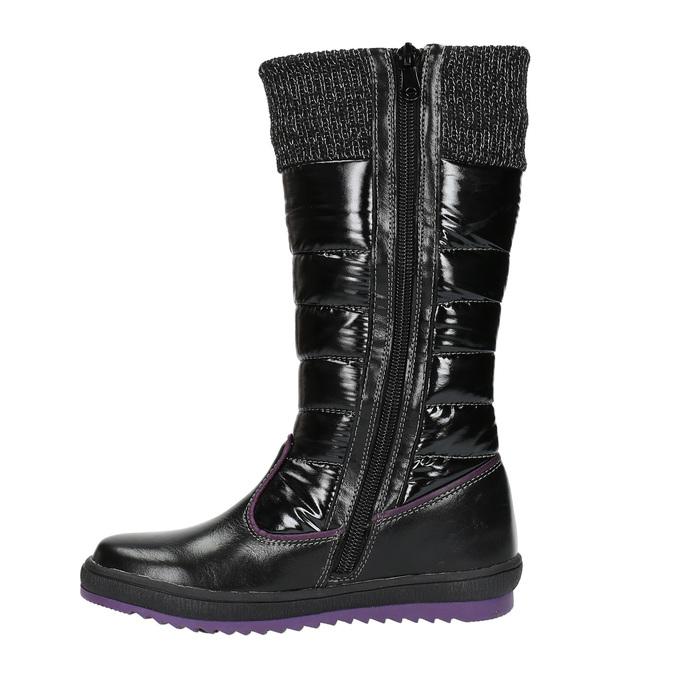 Dievčenské ležérne čižmy s prešívaním mini-b, čierna, 399-6652 - 26