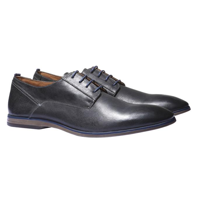 Kožené poltopánky v štýle derby bata, čierna, 824-6605 - 26