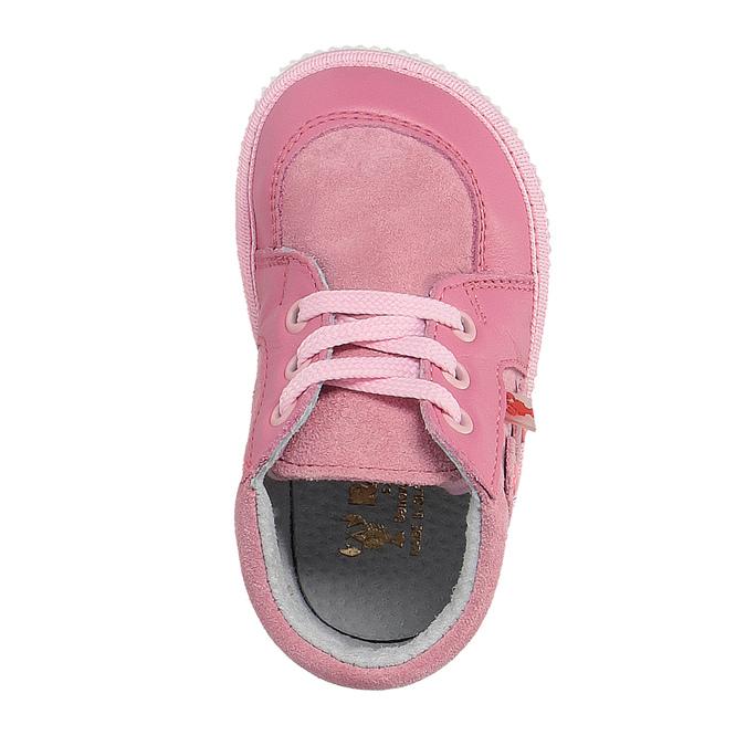 Dievčenská kožená domáca obuv, ružová, 104-5001 - 19