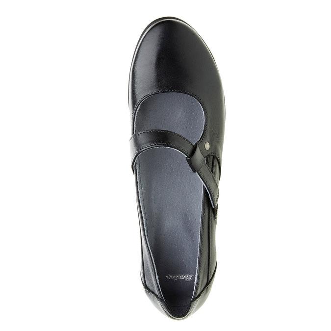 Kožené baleríny s remienkom cez priehlavok bata, čierna, 524-6497 - 19