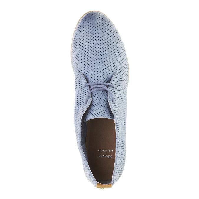 Kožené členkové poltopánky s perforáciou bata, modrá, 526-9495 - 19