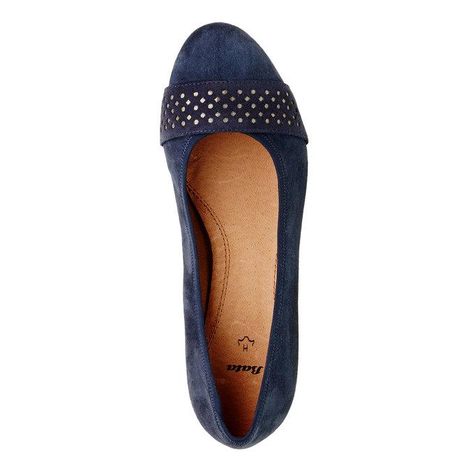 Kožené lodičky pre širšie chodidlá bata, modrá, 623-9100 - 19