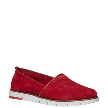 Kožené Slip-on topánky s perforáciou flexible, červená, 513-5200 - 13