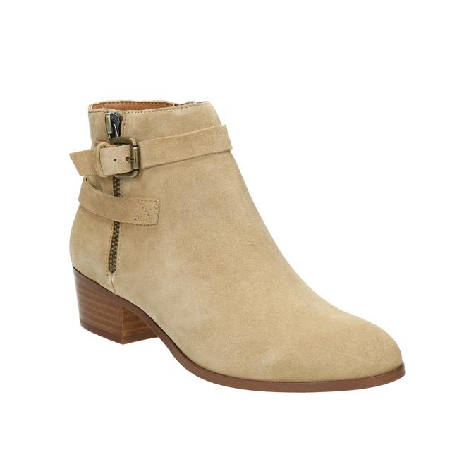 Dámska členková obuv z brúsenej kože bata, béžová, 693-1600 - 13