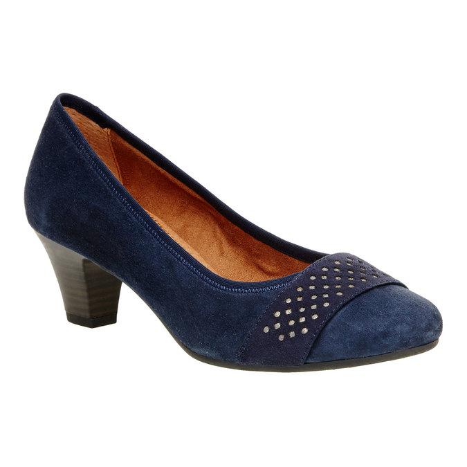 Kožené lodičky pre širšie chodidlá bata, modrá, 623-9100 - 13