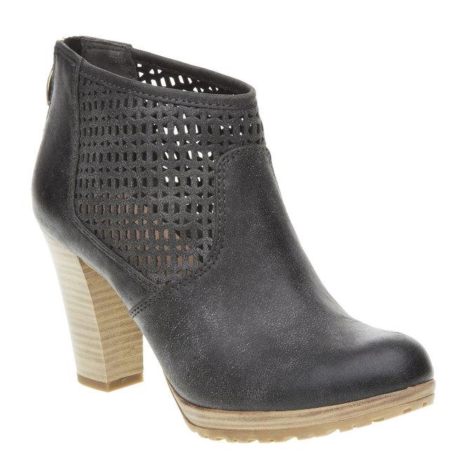 Členkové čižmy na podpätku bata, čierna, 691-6106 - 13