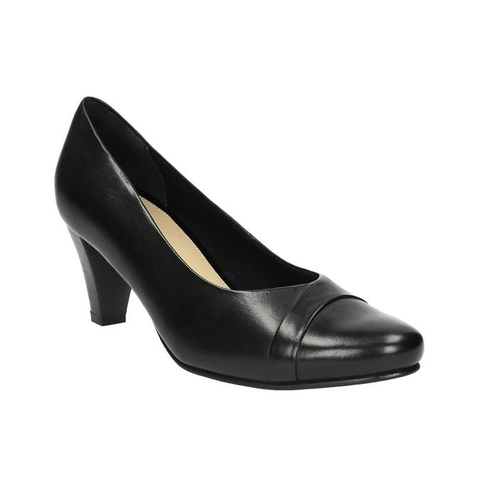 Čierne kožené lodičky bata, čierna, 624-6600 - 13