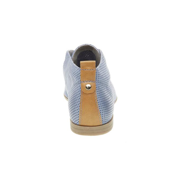Kožené členkové poltopánky s perforáciou bata, modrá, 526-9495 - 17